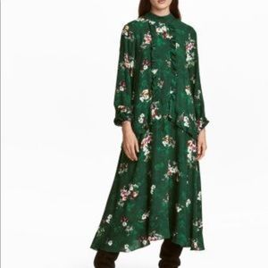 Green ruffle floral maxi dress by H&M size 10